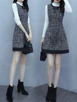 Dress Spring 2021 Vest skirt, vest skirt + black sweater, vest skirt + white sweater S,M,L,XL,XXL Short skirt singleton  Sleeveless commute Crew neck middle-waisted Decor Socket A-line skirt routine Others Type X lady Splicing Wool