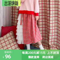 skirt Spring 2020 S,M,L,XL Red grid, blue grid, red coffee grid, red black grid Mid length dress Natural waist Pleated skirt lattice Type A 18-24 years old More than 95% other cotton