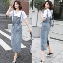 Dress Summer 2021 Blue single skirt, white single skirt, blue suit, white suit S,M,L,XL longuette Two piece set Short sleeve commute Crew neck High waist Solid color A-line skirt routine straps 18-24 years old Type A Korean version Patch, pocket, lace up, stitching