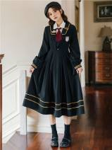 Dress Spring 2021 S,M,L,XL longuette Two piece set Long sleeves Sweet Admiral High waist Solid color Socket Pleated skirt routine Others 18-24 years old Type A Other / other 51% (inclusive) - 70% (inclusive) brocade