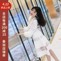 Dress Autumn of 2019 Goddess white 34/XS,36/S,38/M,40/L Mid length dress singleton  Long sleeves commute V-neck High waist Solid color A-line skirt bishop sleeve Others 25-29 years old Type A Bowknot, stitching, lace