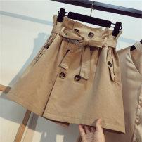 skirt Summer of 2018 S, m, l, XL Short skirt commute High waist A-line skirt Solid color Type A Tie button Korean version