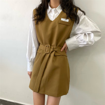 Dress Spring 2021 Khaki Skirt, black skirt, white shirt S,M,L Short skirt Two piece set commute V-neck High waist Solid color Socket A-line skirt other 18-24 years old Type H Korean version Patch, button 51% (inclusive) - 70% (inclusive) other cotton