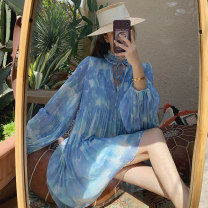 Dress Spring 2021 sky blue S,M,L,XL Short skirt singleton  Long sleeves commute Crew neck middle-waisted Decor Socket A-line skirt bishop sleeve Others 25-29 years old Type A Korean version More than 95% Chiffon polyester fiber