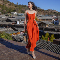 Dress Spring 2021 Orange S,M,L,XL Short skirt singleton  Sleeveless commute Crew neck High waist Solid color Socket A-line skirt routine camisole 18-24 years old Type A backless 31% (inclusive) - 50% (inclusive) Chiffon other