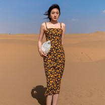 Dress Spring 2021 Decor S, M Middle-skirt singleton  Sleeveless commute High waist Socket camisole Type A Korean version