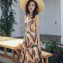 Dress Spring 2021 Decor S,M,L,XL Mid length dress Sleeveless square neck High waist scenery camisole Other / other Hollowing out