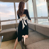 Dress Spring 2021 black S,M,L,XL Middle-skirt singleton  Long sleeves commute square neck High waist Solid color One pace skirt routine Type H
