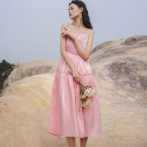 Dress Summer 2021 Black, pink S,M,L,XL longuette singleton  Sleeveless commute One word collar Loose waist Solid color Socket A-line skirt Others Type A backless Chiffon polyester fiber