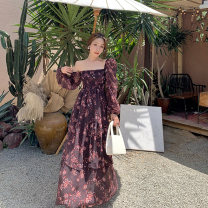 Dress Spring 2021 As shown in the figure S,M,L,XL longuette singleton  Long sleeves commute square neck High waist Decor Socket Cake skirt bishop sleeve Others 25-29 years old Type A Retro 81% (inclusive) - 90% (inclusive) Chiffon polyester fiber