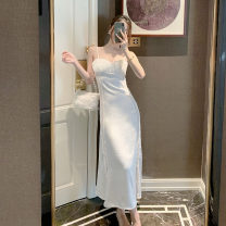 Dress Spring 2021 white S,M,L Mid length dress singleton  Sleeveless commute One word collar High waist Solid color Socket A-line skirt other camisole 25-29 years old Type A Retro 51% (inclusive) - 70% (inclusive) Silk and satin Cellulose acetate