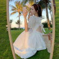 Dress Summer 2020 white S,M,L,XL Mid length dress singleton  commute square neck High waist Solid color A-line skirt puff sleeve Others 18-24 years old Type A Korean version 0316-02