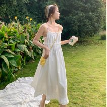 Dress Spring 2021 white S,M,L,XL Mid length dress singleton  Sleeveless One word collar Solid color Socket Princess Dress camisole 18-24 years old Lace brocade hemp