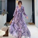 Dress Spring 2021 Picture color S,M,L,XL longuette singleton  Long sleeves V-neck High waist Decor Socket Big swing puff sleeve Other / other