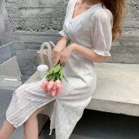 Dress Spring 2021 White, black S,M,L Mid length dress singleton  Short sleeve Sweet High waist Socket Pencil skirt bishop sleeve 25-29 years old Type A Bohemia