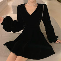 Dress Spring 2021 black S,M,L,XL Middle-skirt singleton  Long sleeves commute V-neck High waist Solid color Socket A-line skirt routine 25-29 years old Type A zipper polyester fiber