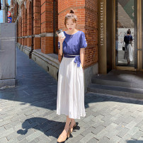 Dress Summer 2021 Blue and white S,M,L,XL Miniskirt Fake two pieces Short sleeve commute Crew neck High waist Solid color Socket A-line skirt routine Type A Korean version 0309-01 31% (inclusive) - 50% (inclusive) Chiffon polyester fiber