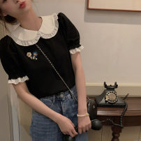 T-shirt Versatile black T-shirt, versatile black dress S,M,L,XL Summer 2021 Short sleeve Doll Collar Straight cylinder Regular puff sleeve commute other 71% (inclusive) - 85% (inclusive) 18-24 years old Retro youth