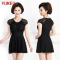 one piece  Yuke 2XL (recommended weight 110-125 kg), 3XL (recommended weight 125-140 kg), 4XL (recommended weight 140-155 kg), 5XL (recommended weight 155-170 kg) Classic black Skirt one piece With chest pad without steel support 8202 mom Summer 2020 no female Short sleeve Casual swimsuit