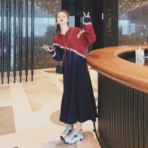 Dress Spring 2021 Navy Blue S,M,L,XL longuette singleton  Long sleeves commute Hood Loose waist Socket Irregular skirt raglan sleeve Type H Korean version 30% and below other cotton