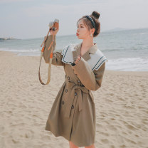 Dress Spring 2021 khaki S,M,L,XL Mid length dress singleton  Long sleeves commute Double collar High waist Solid color double-breasted other routine 18-24 years old Type H Britain Button 30% and below polyester fiber