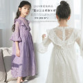 Dress White, purple, white female Other / other 110cm,120cm,130cm,140cm,150cm,160cm,165cm Polyester 95% cotton 5% summer Korean version Short sleeve Solid color other Splicing style Y0448 Class B Chinese Mainland Guangdong Province Guangzhou City