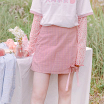 skirt Summer of 2019 S, M Pink spot, pink pre-sale 5-10 days Short skirt Versatile Natural waist A-line skirt lattice Type A 18-24 years old More than 95% cotton bow