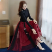 Dress Summer 2020 Black short sleeves, black long sleeves S,M,L,XL,2XL Mid length dress Two piece set Short sleeve commute Crew neck High waist Solid color other Big swing other Others 18-24 years old Type X lady Gauze 30% and below other other