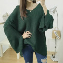Women's large Fall 2017 White, dark blue, dark green, pink Large 2XL [recommended 110 ~ 150 Jin mm loose], large 3XL [recommended 150 ~ 175 Jin mm loose], large 4XL [recommended 175 ~ 200 Jin mm loose] sweater singleton  commute easy moderate Socket Long sleeves Solid color Korean version V-neck