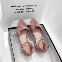 Low top shoes 34, 35, 36, 37, 38, 39, 30, 31, 32, 40, 41, 42, 43, 20, respectively Qianbailin Beige boutique, pink boutique, black boutique Sharp point Suede Square heel Low heel (1-3cm) Shallow mouth PU Spring 2020 Flat buckle Sweet Adhesive shoes Solid color rubber Single shoes Shallow mouth, bow