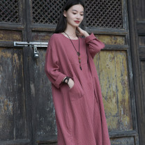 Dress Autumn 2020 White, black, rust red Average size longuette singleton  Long sleeves commute Crew neck Loose waist Solid color Socket A-line skirt routine 25-29 years old Type A Other / other Retro pocket 51% (inclusive) - 70% (inclusive) hemp