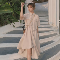 Dress Summer 2021 Picture color S,M,L,XL longuette singleton  Short sleeve commute Polo collar High waist Solid color Single breasted Irregular skirt raglan sleeve Others Type A Other / other Korean version Button, pocket, stitching, lace up other