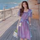 Dress Summer 2021 violet S,M,L Mid length dress singleton  Short sleeve commute square neck Loose waist Solid color Socket A-line skirt Others Type A Other / other Korean version