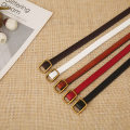 Belt / belt / chain Double skin leather White, black, brown, red, dark brown female belt Versatile Single loop Youth, youth, middle age Smooth button other soft surface 1cm alloy alone ZP001