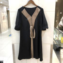 Dress Summer 2021 black XL,2XL,L,M Long sleeves commute Doll Collar Solid color Single breasted routine 25-29 years old Lace up, stitching 31% (inclusive) - 50% (inclusive) wool