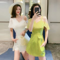 Dress Summer 2021 White, black, green S,M,L,XL Short skirt Two piece set Sleeveless commute V-neck High waist Solid color zipper A-line skirt other camisole 25-29 years old Type A DanDan Love Pocket, mesh, zipper DD2020-6682 71% (inclusive) - 80% (inclusive) other nylon