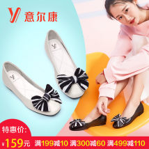 Low top shoes Zhongkou White black Yearcon / Yierkang Round head The first layer of leather Flat heel (less than or equal to 1cm) flat PU Fall of 2018