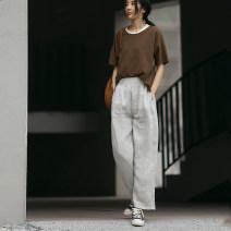 Casual pants Hemp ash S,M,L,XL,2XL Summer 2021 trousers Pencil pants Natural waist commute Thin money 30-34 years old 96% and above 21ZYK186 Solo weaving hemp literature hemp
