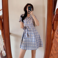 Women's large Summer 2020 violet Large XL, large XXL, large XXL, large XXXXL, large L, M Dress singleton  commute Self cultivation moderate Socket Short sleeve lattice Korean version other Medium length Three dimensional cutting other Medium length other bow zipper