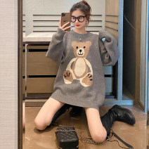 Women's large Winter 2020, autumn 2020 Black, gray M. Large L, large XL, 2XL, 3XL, 4XL sweater singleton  commute Straight cylinder thickening Socket Long sleeves Cartoon animation Crew neck Medium length routine 18-24 years old 31% (inclusive) - 50% (inclusive)