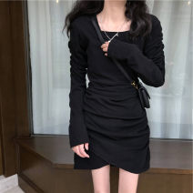 Women's large Winter 2020, autumn 2020, spring 2021 black Big XL, big XXL, big XXXL, big XXXXL, big L, one size Dress singleton  commute Self cultivation moderate Socket Long sleeves Solid color Korean version Crew neck Collage routine 18-24 years old 71% (inclusive) - 80% (inclusive) Short skirt