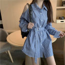 Lace / Chiffon Autumn 2020 Blue bar S,M,L,XL,2XL,3XL,4XL Long sleeves commute Cardigan singleton  easy Medium length Polo collar stripe shirt sleeve 18-24 years old Pocket, button Korean version 31% (inclusive) - 50% (inclusive)