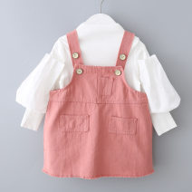 Dress Two piece powder set female Other / other 73 (height 55-73), 80 (height 70-80), 90 (height 80-90), 100 (height 90-100), 110 (height 100-110) Cotton 95% other 5% spring and autumn leisure time Long sleeves Solid color cotton Strapless skirt E20138 Class A