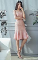 Dress Autumn 2020 Blue, pink S,M,L,XL Miniskirt singleton  three quarter sleeve Sweet One word collar High waist Solid color zipper Ruffle Skirt routine camisole 25-29 years old Type X Lace Good quality Lace polyester fiber Ruili