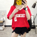 T-shirt White, red, black M,L,XL,2XL Summer 2021 Short sleeve V-neck easy Regular routine commute cotton 86% (inclusive) -95% (inclusive) 18-24 years old Korean version youth Letters, gradient HS#547 3D, print, bandage