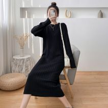 Dress Autumn 2020 Black, apricot white, camel, oat, black smooth, gray smooth, apricot smooth, red smooth S,M,L,XL longuette singleton  Long sleeves commute Crew neck Loose waist Solid color Socket One pace skirt routine 25-29 years old Type H Korean version More than 95% knitting cotton