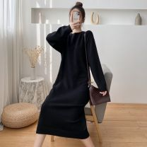 Dress Winter 2020 Black, apricot, grey, red S,M,L,XL longuette singleton  Long sleeves commute Crew neck Loose waist Solid color Socket One pace skirt raglan sleeve 25-29 years old Type H Korean version More than 95% knitting cotton