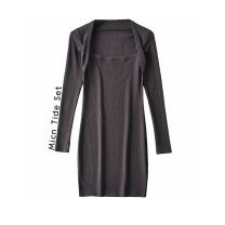 Dress Spring 2021 Black, coffee grey S,M,L Short skirt singleton  Long sleeves street V-neck High waist Solid color Socket routine MICN More than 95% other polyester fiber Europe and America