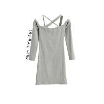 Dress Spring 2021 Black, white, gray, khaki S, M Short skirt singleton  Long sleeves street One word collar High waist Solid color Socket One pace skirt routine camisole MICN More than 95% knitting other Europe and America