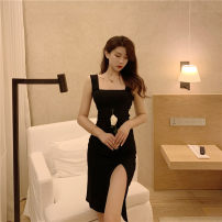 Dress Summer 2021 black S,M,L Short skirt singleton  Sleeveless Sweet square neck High waist Solid color Socket One pace skirt camisole 18-24 years old Type A backless 30% and below knitting polyester fiber Bohemia